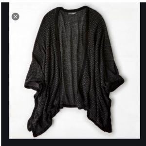 2/$20 black grey poncho cardigan sweater top